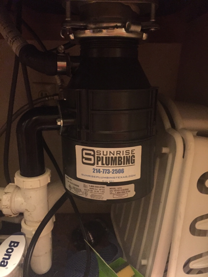 Mesquite, TX - Just installed this new disposal in place of one that was no longer working! Mesquite Plumbers. Mesquite disposal repair and installation.