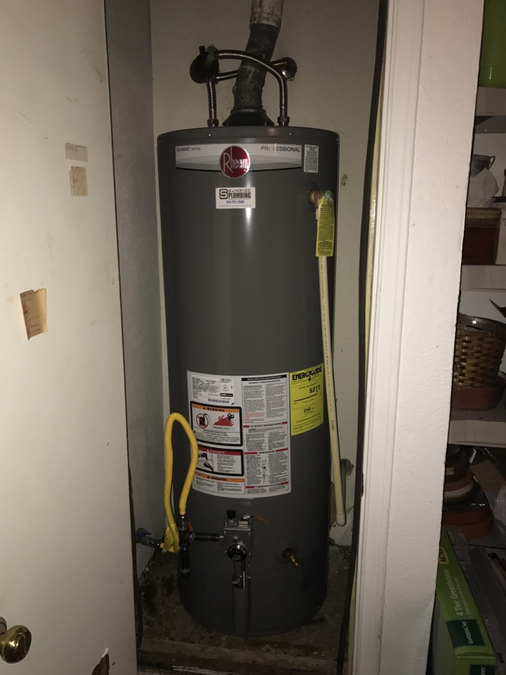 Richardson, TX - Our clients had a water heater than cracked internally and needed to be replaced. We installed this 50 Gallon Rheem Pro Natural Gas water heater! Plumbers in Dallas Texas!