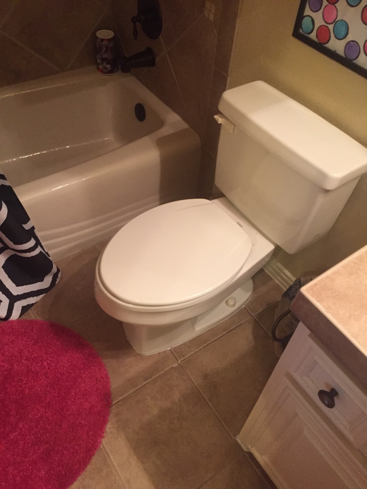 Heath, TX - Toilet leaking into the downstairs kitchen ceiling. Pull and reset toilet in upstairs guest bathroom. Rockwall plumbers