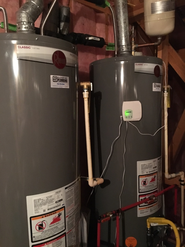 Fairview, TX - American water heaters 10 years old not producing hot water. No repair can be made. Need to replace. Install 2 new Rheem Professionals with expansion tank and floodstop device.