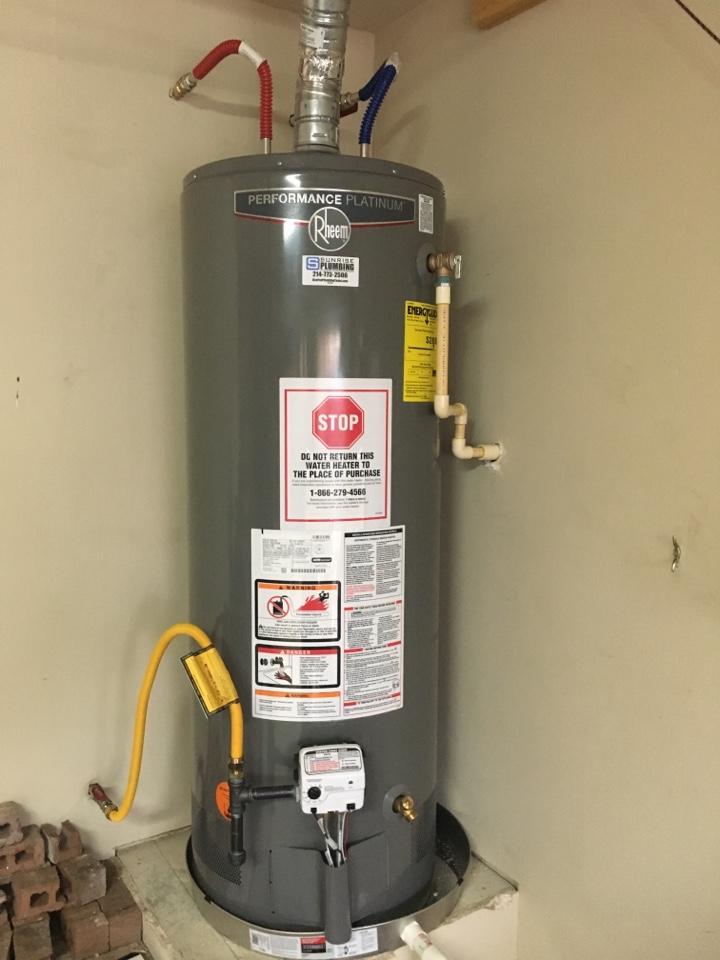 Royse City, TX - Install client supplied Rheem gas water heater in garage.