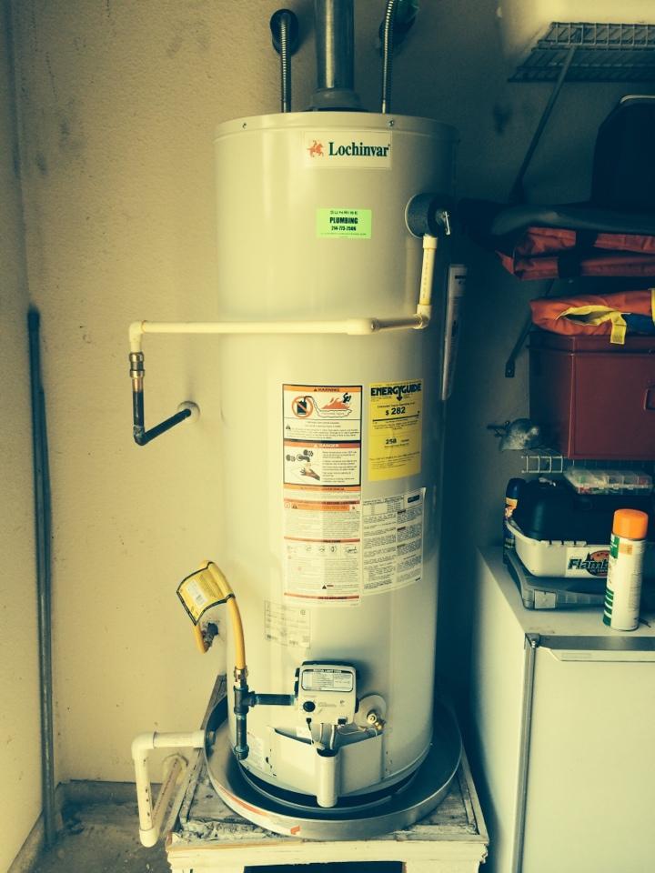 Murphy, TX - Install new, Lochinvar, 50 gallon, natural gas, water heater in garage.