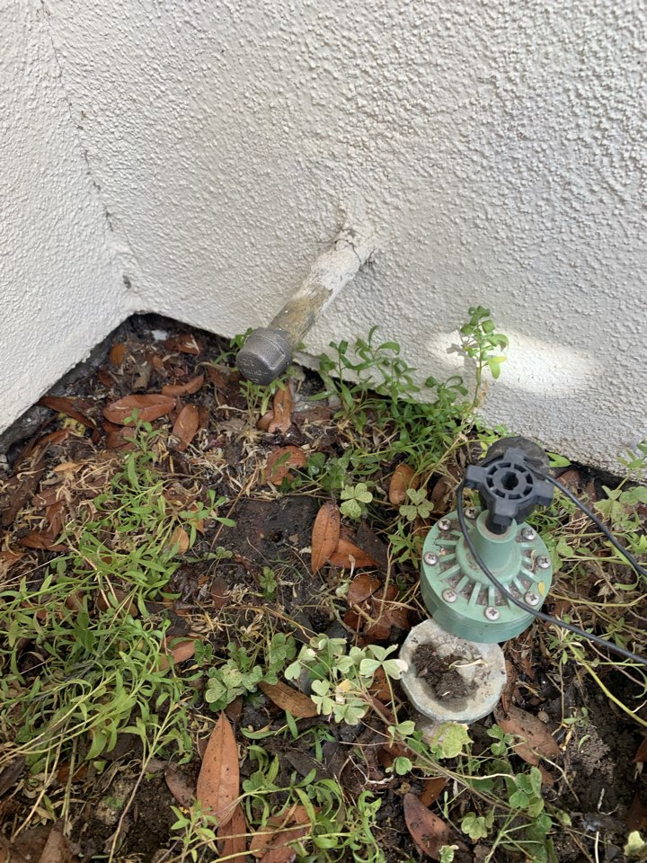 Claremont, CA - Sprinkler pipe busted and line capped off to turn back water to the house in the city of Claremont.