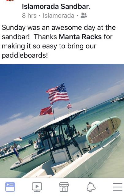 Islamorada, FL - Take your boards to the sandbar or your favorite fishing spot.  Go further with Manta Racks.