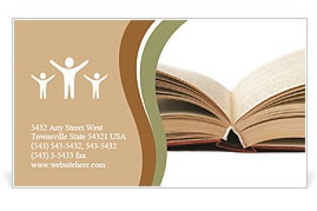 Open book with yellow pages Business Card Template   Design ID     Open book with yellow pages Business Card Template