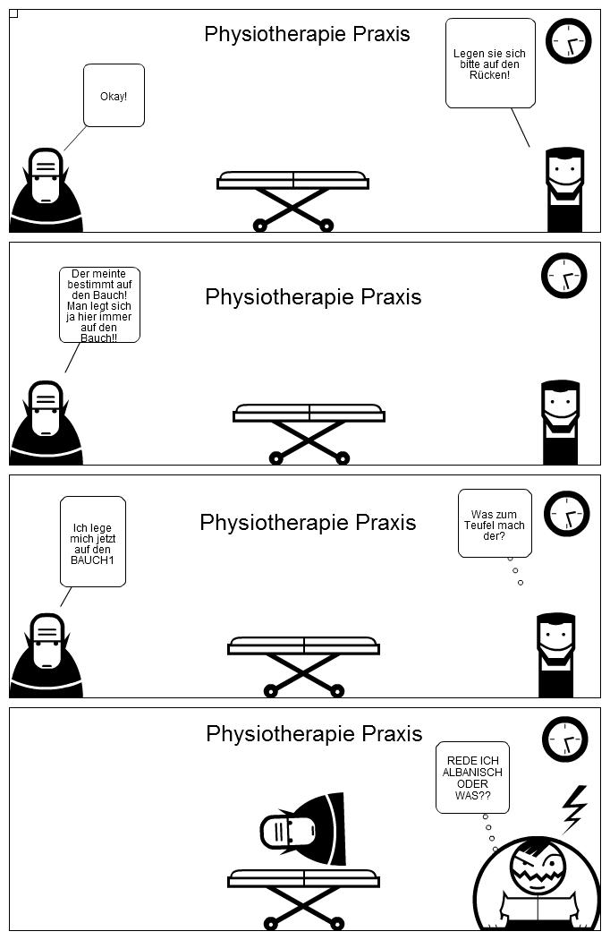 Eine typische Szene in einer Physiotherapiepraxis!