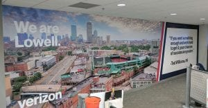 Boston Skyline Mural featuring Fenway Park & Ted Williams