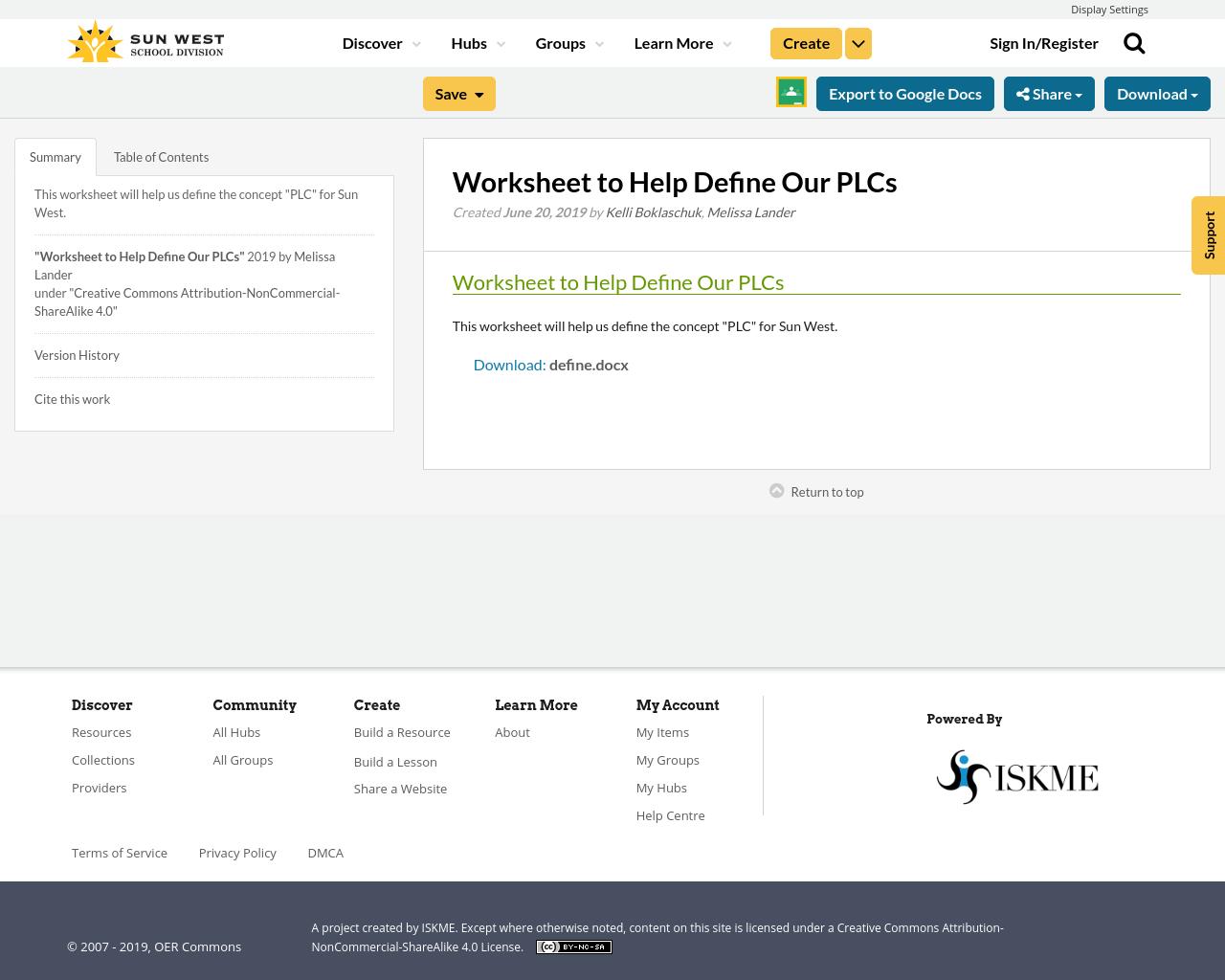 Worksheet To Help Define Our Plcs