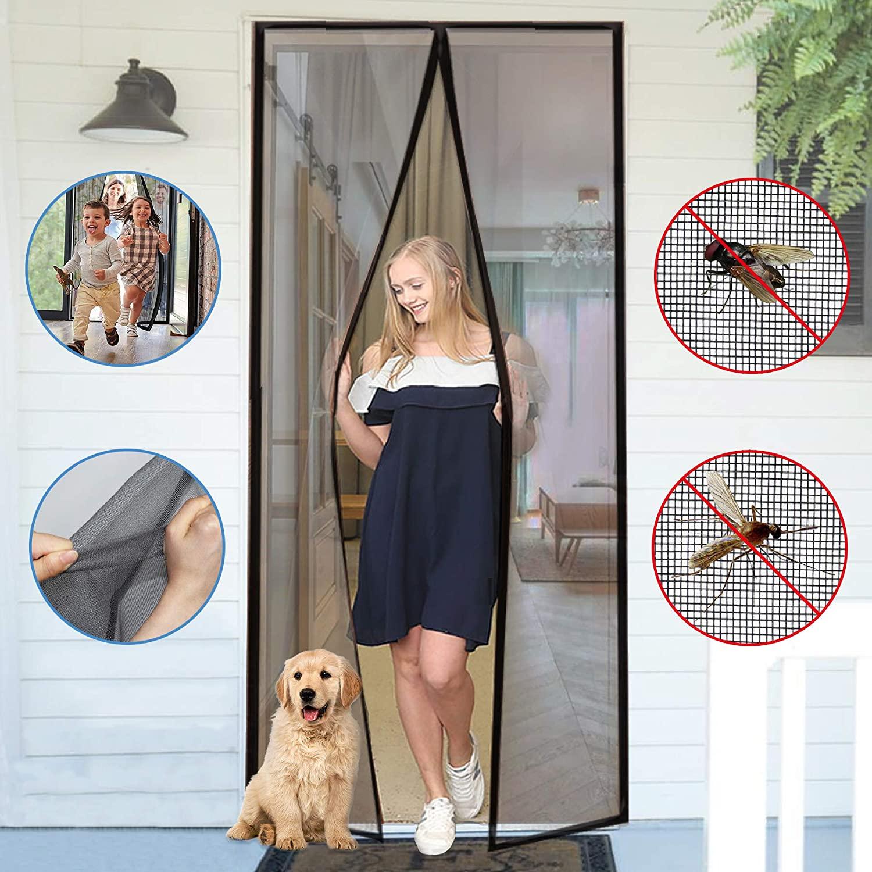 magnetic screen door mesh curtain black