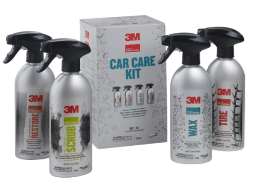 Nothing but the basics in the car care kit from 3M, but the quality is assured, the bottles are big and the instructions are simple.
