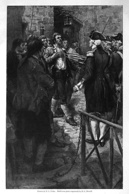 An engraving of British forces capturing Ethan Allen and his men in Montreal.
