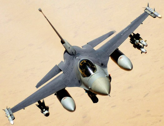 An F-16 fighter jet on a mission against ISIS over Iraq.
