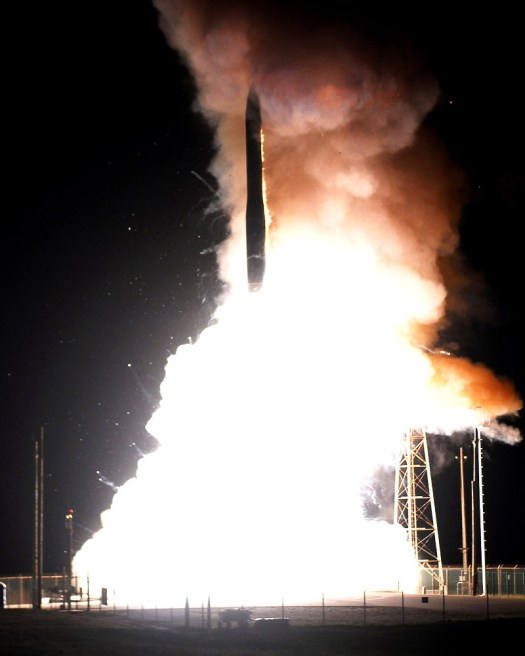 A Minuteman III ICBM blasts off during a test in 2008.