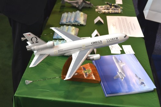 A model of one of Omega's DC-10 tankers.