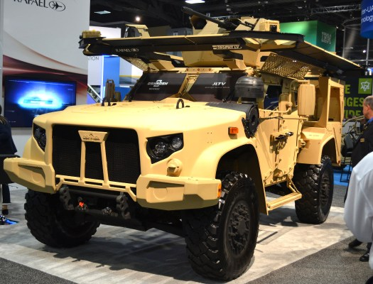 A JLTV with the Trophy LV active protection system.