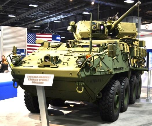 The Mk 44 Bushmaster II-armed Stryker Dragoon.