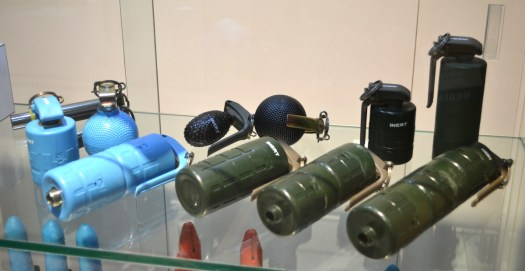 Inert examples of Nammo's modular hand grenades in training and operational configurations.