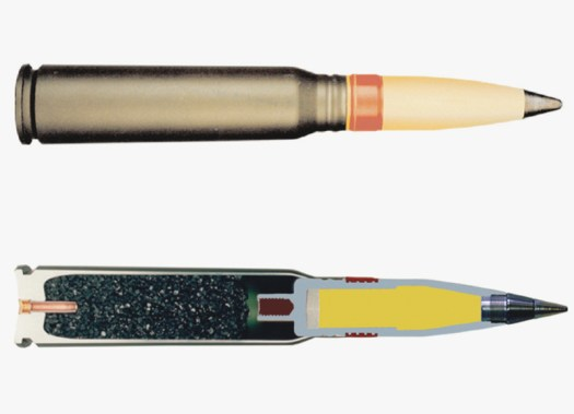 The PGU-46/B round, above, and a cut away showing its internal construction, below.