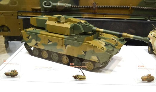 A model of South Korean conglomerate Hanwha's K21-105 light tank.