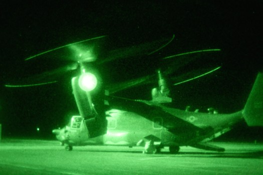 A US Air Force CV-22B tilt-rotor, a type of aircraft American special operators have used during raids in the past.
