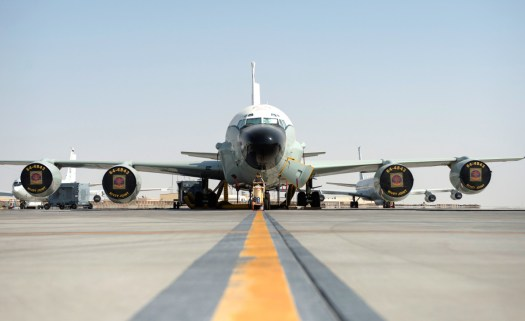 An RC-135V/W Rivet Joint at Al Udeid Air Base in Qatar in July 2017.