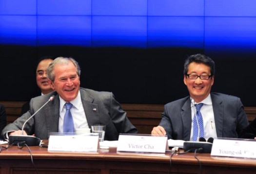 Victor Cha, right, and President George W. Bush.