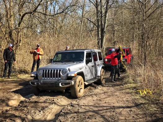 The more street- and mpg-friendly tires of the Wrangler Sahara struggled where the Rubicon breezed right through.