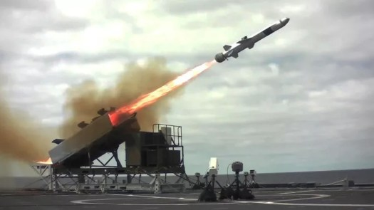 A Naval Strike Missile flies out of its launcher during a test.