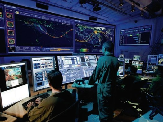 A view inside the U.S. military's Joint Space Operations Center.