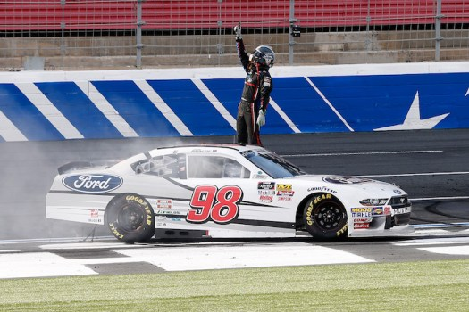 Chase Briscoe celebrates his first-career NASCAR Xfinity Series win in the Drive for the Cure 200 at the Charlotte Motor Speedway Roval on Sept. 29, 2018.