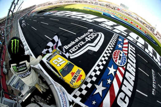Ryan Blaney wins the Bank of America Roval 400 on Sept. 30, 2018.