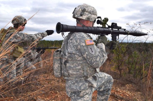 A US Army soldier prepared to a fire an AirTronic PSRL-1, an American-made derivative of the Soviet RPG-7.