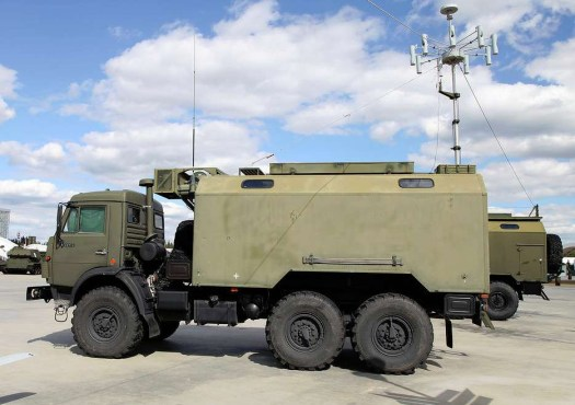 A Russian R-330Zh Zhitel truck-mounted electronic warfare system that has the capability to jam cellular satellite communications.