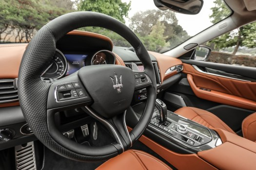 Leather, trims, and big paddle shifters look the luxury part