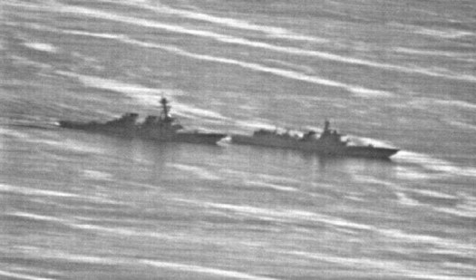 A video still showing the Chinese destroyer <em data-recalc-dims=