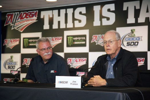 ARCA's Ron Drager and NASCAR's Jim France announce NASCAR's acquisition of the ARCA Racing Series during a press conference at Talladega Superspeedway on April 27, 2018.