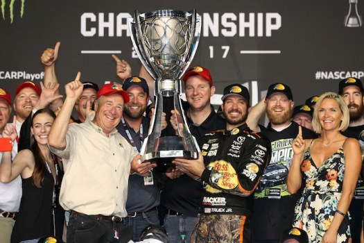 Martin Truex Jr. and the No. 78 Furniture Row Racing team celebrate winning the 2017 Monster Energy NASCAR Cup Series championship after winning the season finale at Homestead-Miami Speedway on Nov. 19, 2017.