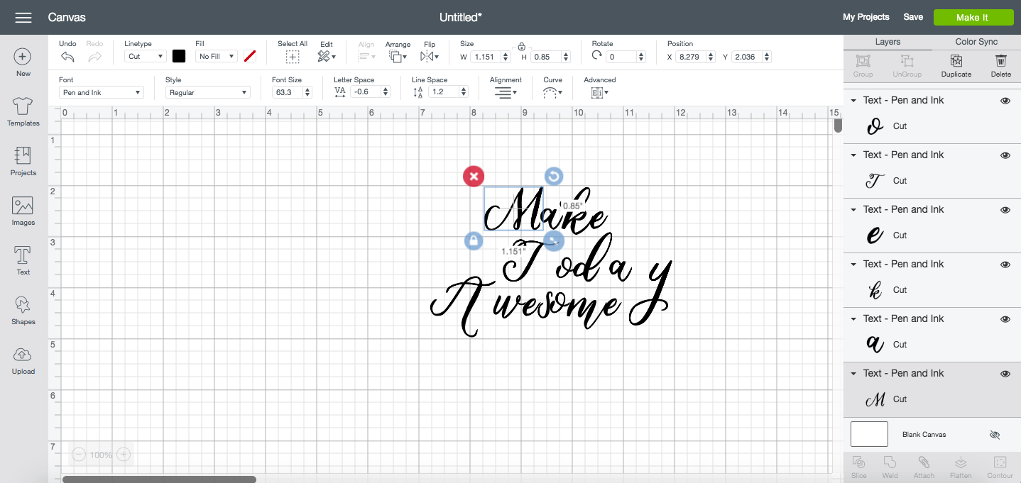 Ungroup to letters when working with script fonts in Design Space