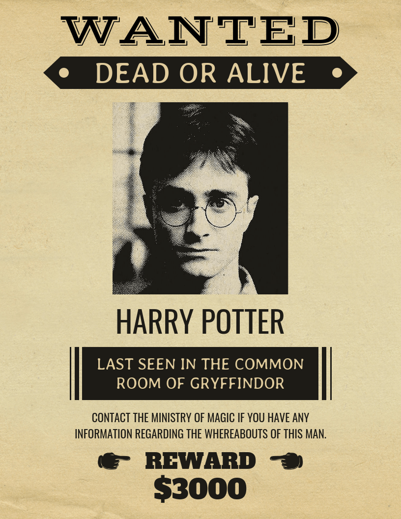 vintage harry potter wanted poster template