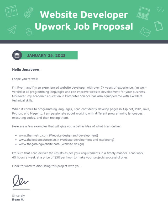 Simple Developer Upwork Proposal Template
