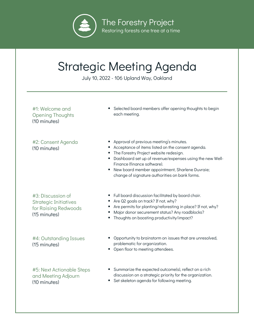 Project management team meetings can be one of your most fun and valuable meetings, getting everyone aligned and energized, but they can also easily be your most painful. Nonprofit Environmental Board Meeting Agenda Template