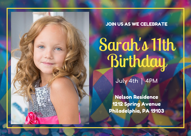 vivid birthday party invitation template