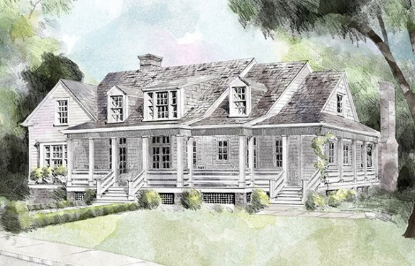 Hilltop Lake     Southern Living House Plans Front Elevation Rendering