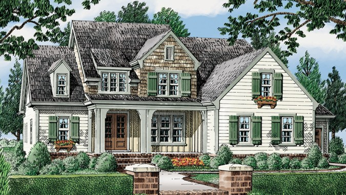 Statesboro     Southern Living House Plans Front Elevation Rendering Main Level Floor Plan