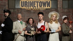 Jacob York, Chip Arnold, Galen Crawley, Mitchell Ryan Miller, Mariah Parris and Megan Murphy Chambers perform in Nashville Rep's Urinetown The Musical