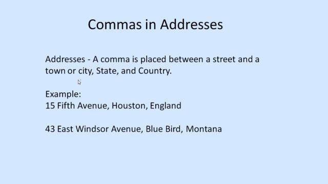 Proper Way To Write An Address With Commas