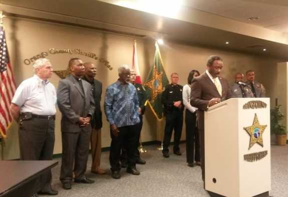 Members of the Orange County Sheriff's Office and community leaders hold a press conference on Monday. Photo: Orange County Sheriff's Office.