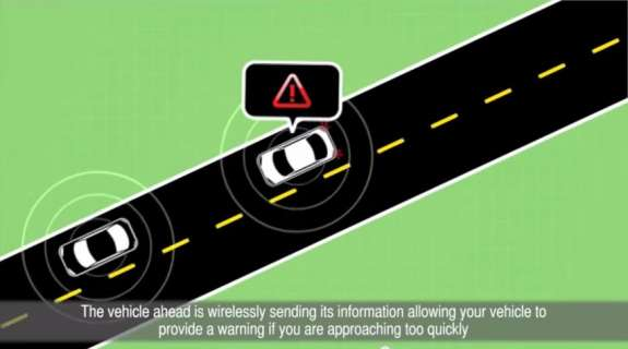 Vehicle to vehicle communication could help prevent crashes. Image: USDOT