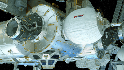 Renderings of the BEAM expanded on the International Space Station. Photo: Bigelow Aerospace
