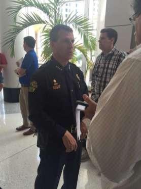 Chief John Mina updating reporters on Monday, June 13